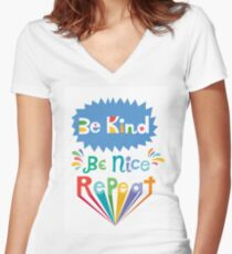 be kind be nice repeat Women's Fitted V-Neck T-Shirt