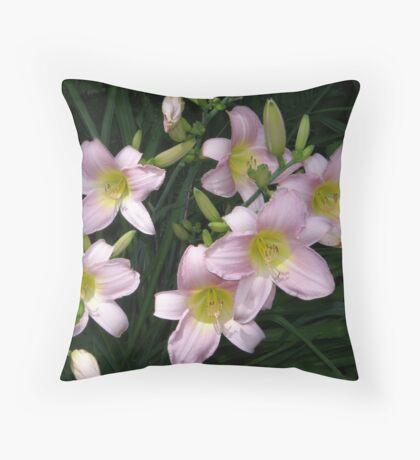 Pink Daylilies Throw Pillow