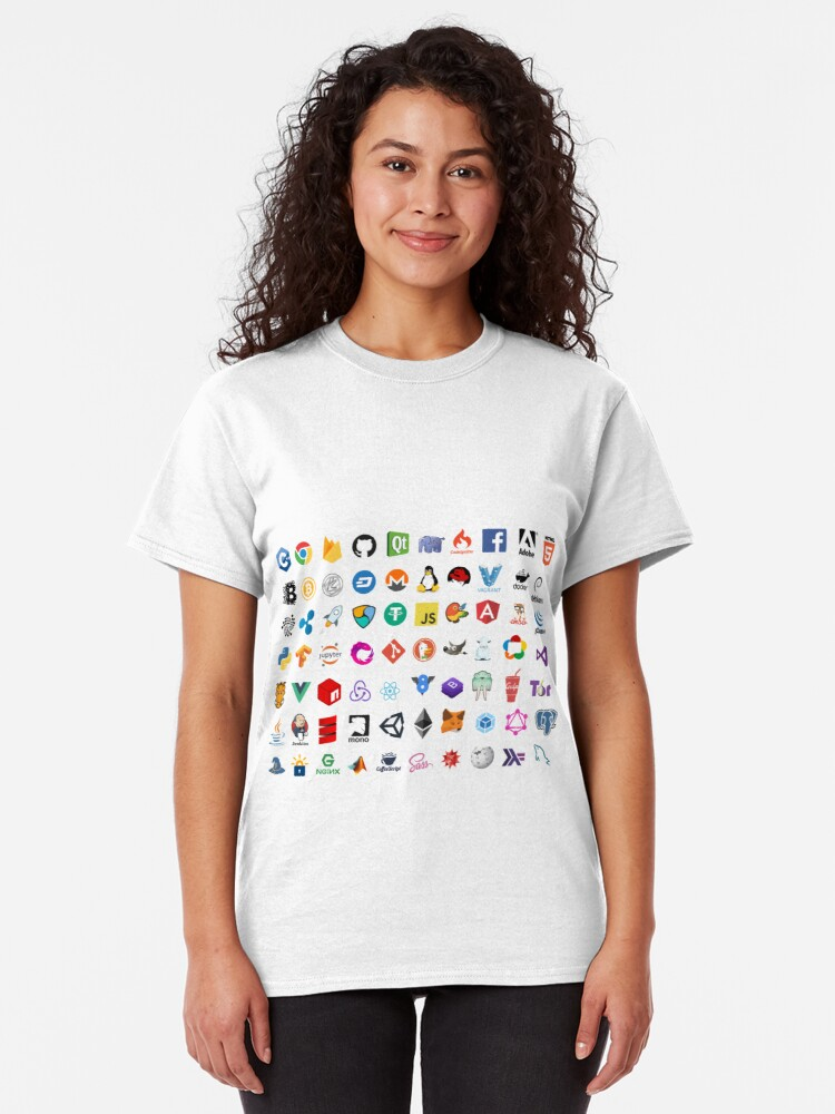 Alternate view of Developer icons, open source project logos, web companies Classic T-Shirt