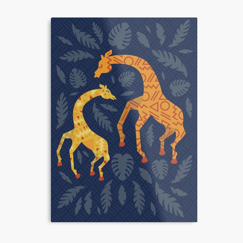 Tanzende Giraffen mit Mustern Metallbild
