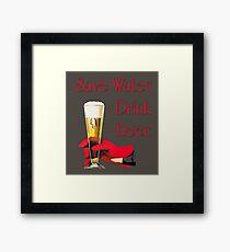 Save water drink beer home bar sign Framed Print