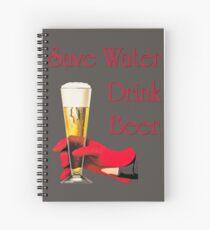 Save water drink beer home bar sign Spiral Notebook