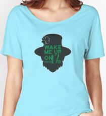 Wake Me Up on March 17 Silhouette St. Patrick's Day T-Shirt  Women's Relaxed Fit T-Shirt
