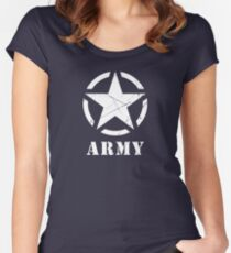 US Army Star WWII Veteran Military Women's Fitted Scoop T-Shirt