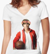 Zac Efron Flower Crown Women's Fitted V-Neck T-Shirt