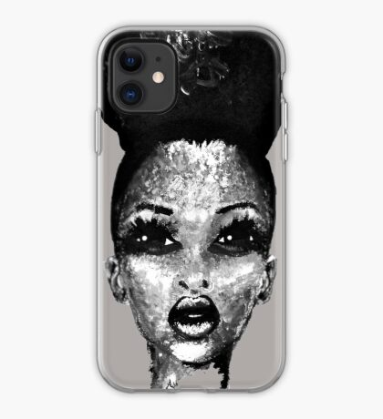 Positive Me Afro Puff Beauty Black And White  iPhone Case
