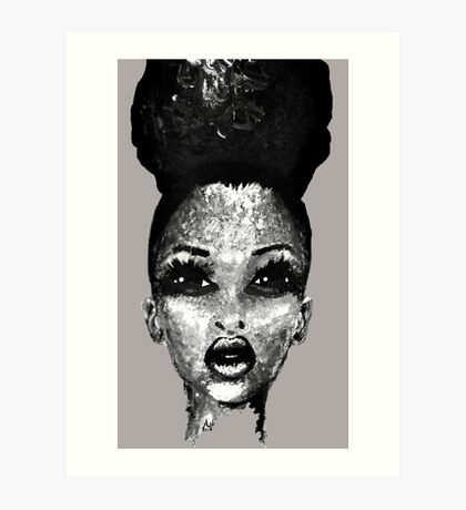 Positive Me Afro Puff Beauty Black And White  Art Print