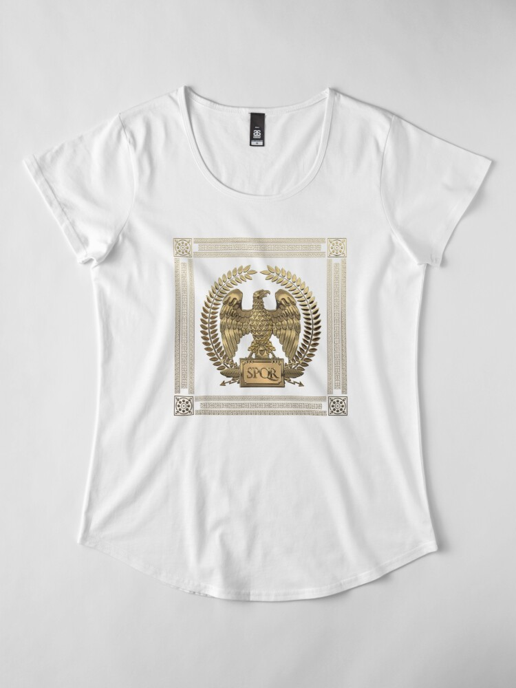 Alternate view of Roman Empire - Gold Imperial Eagle over Red Velvet Premium Scoop T-Shirt