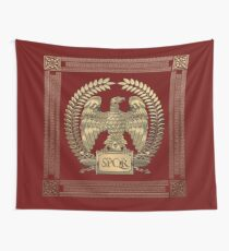 Roman Empire - Gold Imperial Eagle over Red Velvet Wall Tapestry