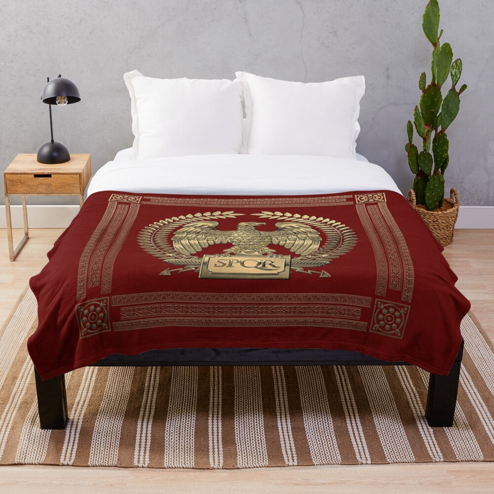 Roman Empire - Gold Imperial Eagle over Red Velvet Throw Blanket