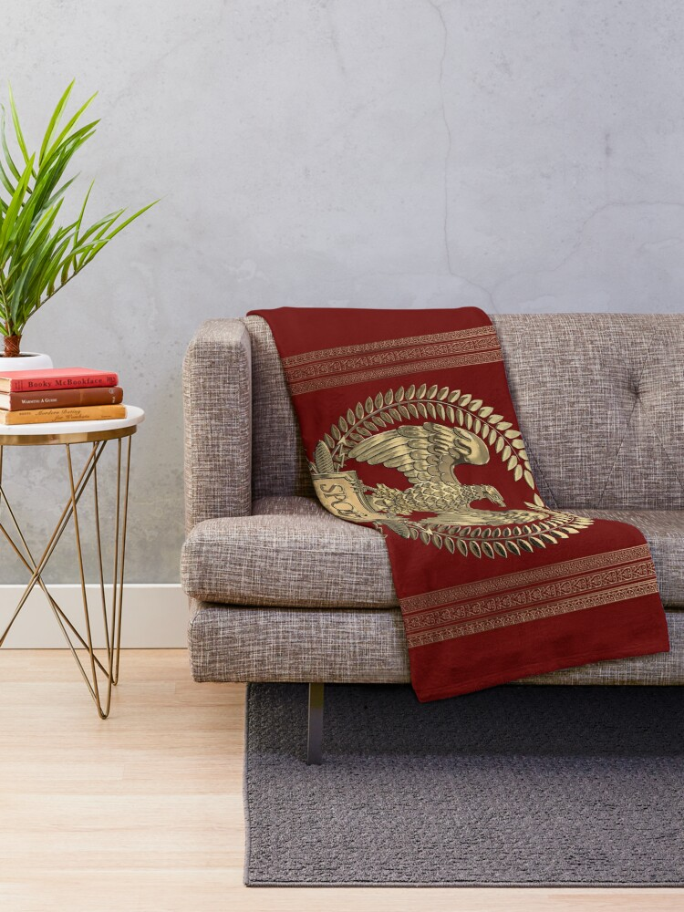 Alternate view of Roman Empire - Gold Imperial Eagle over Red Velvet Throw Blanket