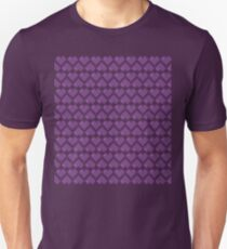 Seamless Pattern of Violet Pixel Hearts (7x6) Unisex T-Shirt