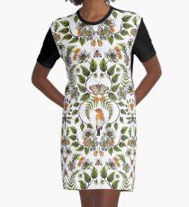 Frühlings-Reflexion - Blumen- / botanisches Muster mit Vögeln, Motten, Libellen u. Blumen T-Shirt Kleid