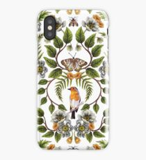 Spring Reflection - Floral/Botanical Pattern w/ Birds, Moths, Dragonflies & Flowers iPhone Case