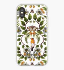 Frühlings-Reflexion - Blumen- / botanisches Muster mit Vögeln, Motten, Libellen u. Blumen iPhone-Hülle & Cover
