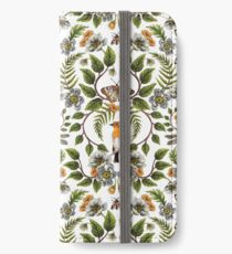 Frühlings-Reflexion - Blumen- / botanisches Muster mit Vögeln, Motten, Libellen u. Blumen iPhone Flip-Case/Hülle/Klebefolie