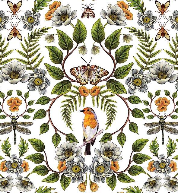 Frühlings-Reflexion - Blumen- / botanisches Muster mit Vögeln, Motten, Libellen u. Blumen von somecallmebeth