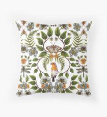 Frühlings-Reflexion - Blumen- / botanisches Muster mit Vögeln, Motten, Libellen u. Blumen Bodenkissen