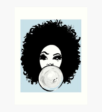 Curly Afro  Pretty Girl Bubble Gum Poppin Natural Hair Art Art Print