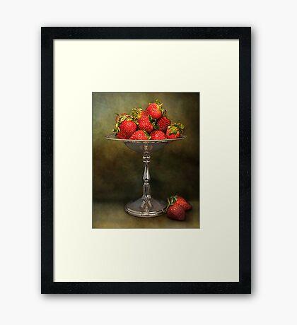 Strawberries On A Pedestal Framed Print