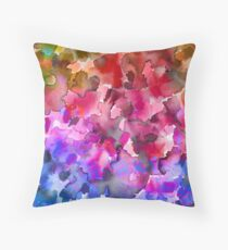 COLOR ME FLORAL 4 Whimsical Abstract Watercolor Painting Ombre Flower Pattern Pink Red Purple Blue Ochre Throw Pillow