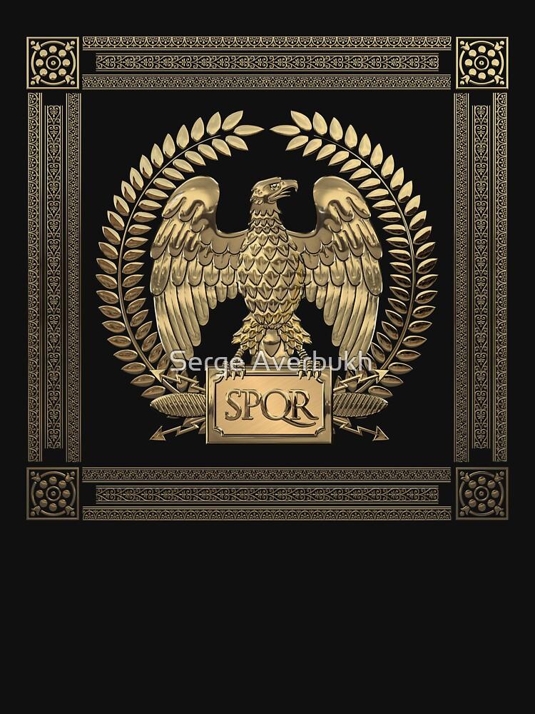 Roman Empire Gold Imperial Eagle Over Black Velvet Womens T Shirt