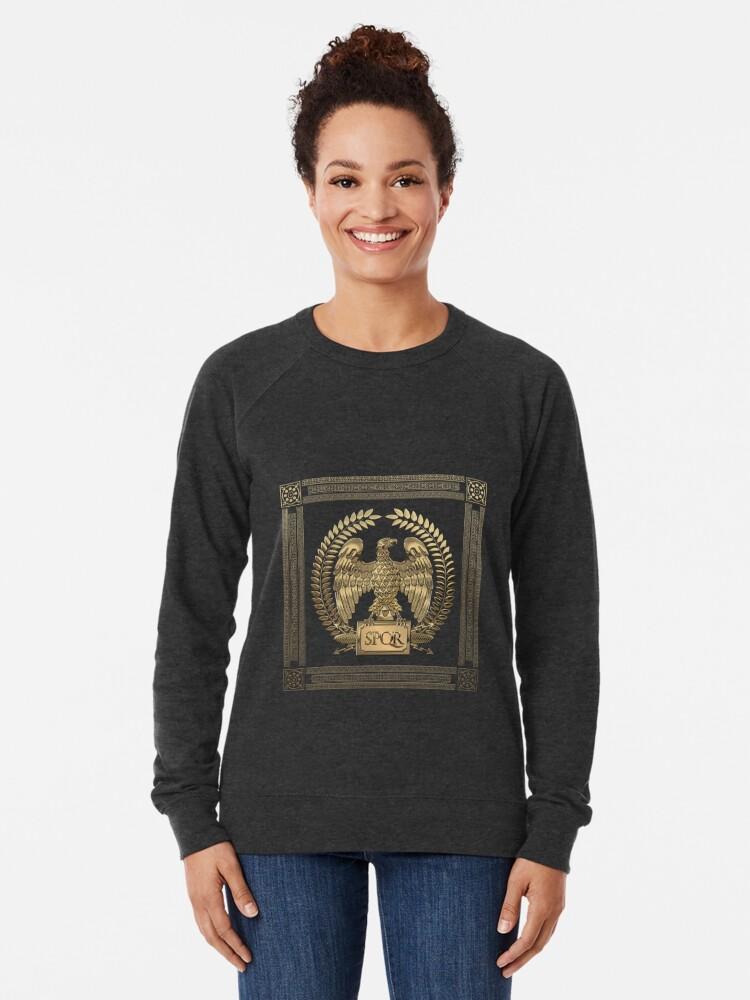 Alternate view of Roman Empire - Gold Imperial Eagle over Red Velvet Lightweight Sweatshirt