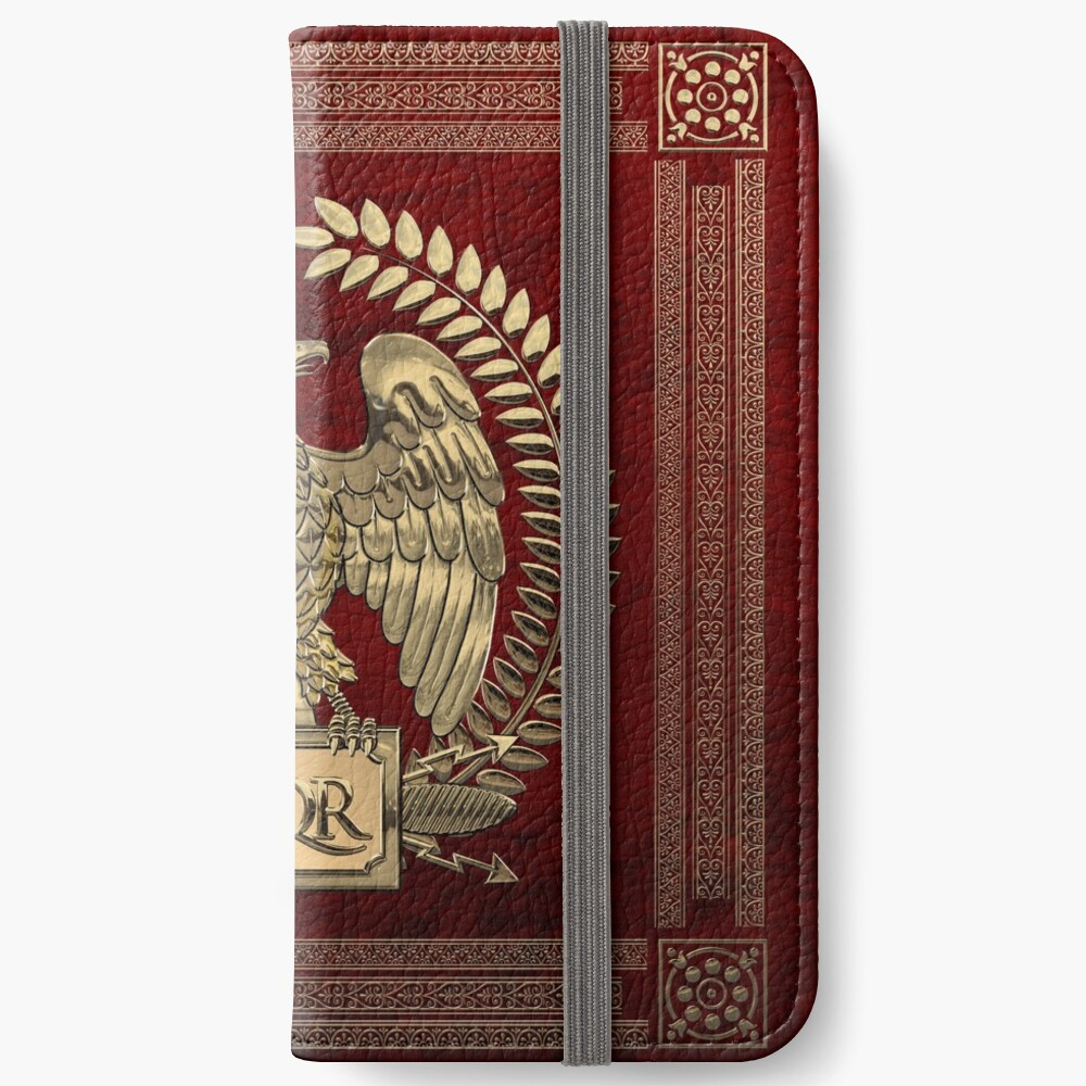 Roman Empire - Gold Imperial Eagle over Red Velvet iPhone Wallet