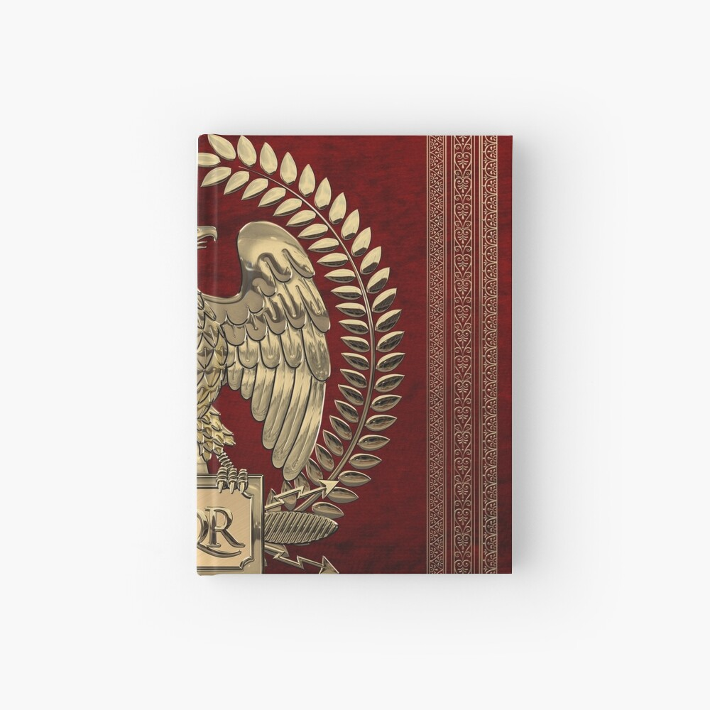 Roman Empire - Gold Imperial Eagle over Red Velvet Hardcover Journal