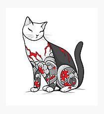 Cat in Cherry Blossom Tattoo Photographic Print