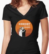 Coexist as One People Women's Fitted V-Neck T-Shirt