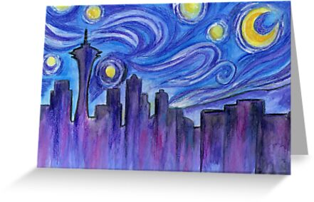 Starry Night Over Seattle by Roz Abellera