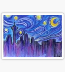 Starry Night Over Seattle Sticker