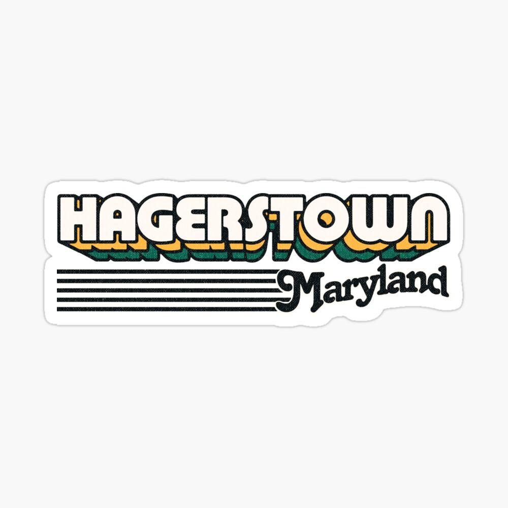 Hagerstown, Maryland | Retro Stripes Sticker