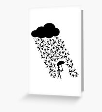 """A pictorial representation of the idiom, """"raining cats and dogs"""". Greeting Card"""