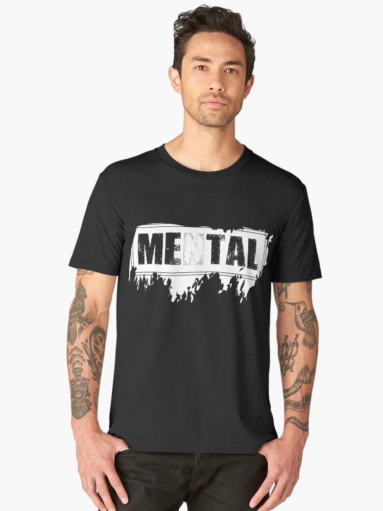 Mental is Metal - White on Black Men's Premium T-Shirt Front
