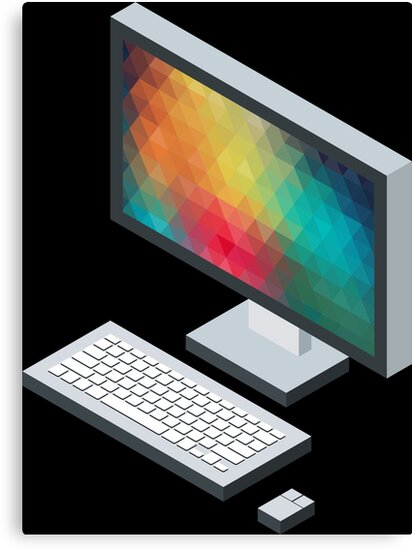 Isometric icon monitor keyboard and mouse by AdiDsgn
