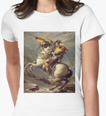 Napoleon Crossing the Alps(Napoleon at the Saint-Bernard Pass)-Jacques-Louis David Women's Fitted T-Shirt