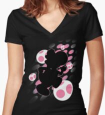 Super Smash Bros. Pink Yoshi Silhouette Women's Fitted V-Neck T-Shirt