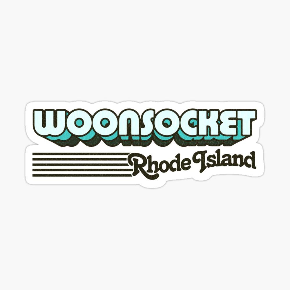 Woonsocket, Rhode Island   Retro Stripes Sticker