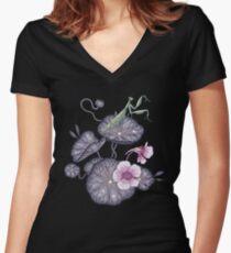 Jardin de cresson indien noir. T-shirt col V femme