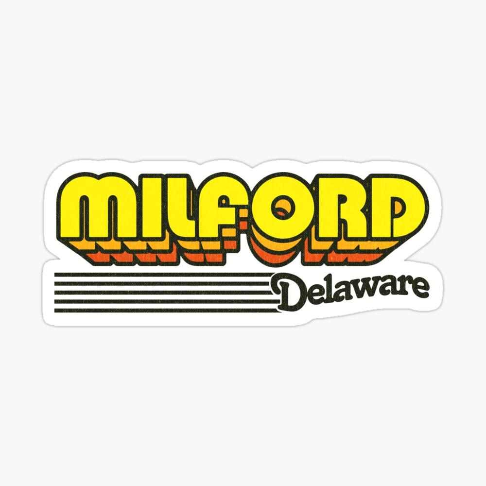Milford, Delaware | Retro Stripes Sticker