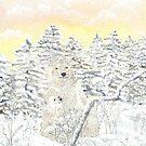 « neige et ourson joueur » par Stiopic