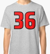 Red, Black Outline Number 36 Classic T-Shirt