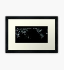World map made from the global river systems that carry the flow of water from the continents back into the oceans Framed Print