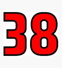 Red, Black Outline Number 38 Photographic Print