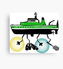 Cartoon Marine Research Vessel Canvas Print
