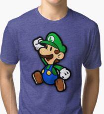 Custom Paper Mario Luigi Shirt Tri-blend T-Shirt