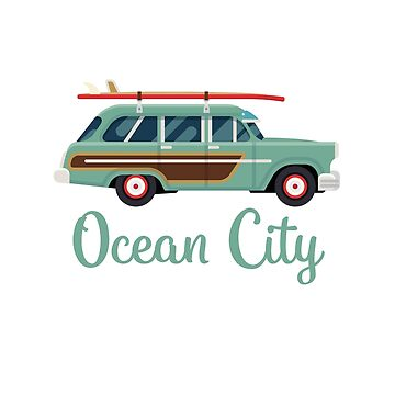 Ocean City Retro Beach Surf Wagon by awkwarddesignco