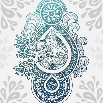 Paisley Capricornus | Turquoise Blue Ombré by OMEGAFAUNA